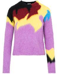 Loewe Intarsia Crewneck Wool Jumper Wrtwstd_xs - Purple