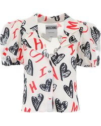 Moschino Puff-sleeve Printed Shirt - Multicolor