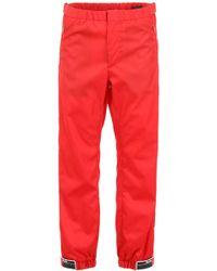 Prada Ankle Cuffed Logo Cargo Pants - Red