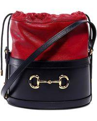 Gucci 1955 Horsebit Bucket Bag - Red