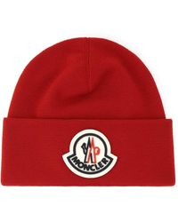 Moncler Red Wool Beanie Hat Nd Uomo