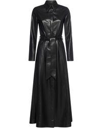 Nanushka Asayo Faux Leather Shirt Dress - Black