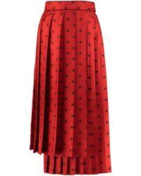 Fendi Pleated Ff Karligraphy Printed Pleated Skirt Skirt - Red