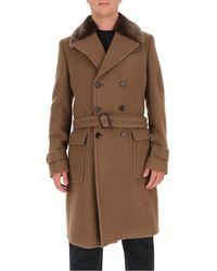 Dolce & Gabbana Fur Collar Belted Coat - Brown