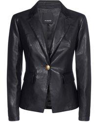 Pinko Single Breasted Faux-leather Jacket - Black