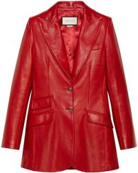 Gucci Plongé Leather Jacket - Red