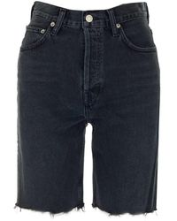 Agolde 90s Frayed Denim Shorts - Black
