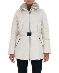 Woolrich Fur-trim Belted Coat - White