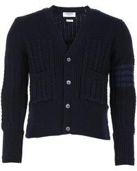 Thom Browne 4-bar Ribbed Knit Cardigan - Blue