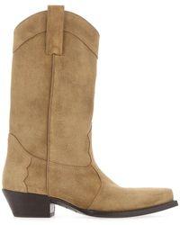 Saint Laurent Lukas Western Suede Boots - Natural