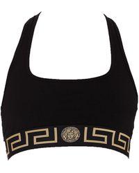 Versace Logo Band Sports Bra - Black