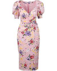 Alessandra Rich Floral Print Midi Dress - Pink