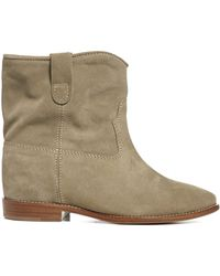 Isabel Marant Crisi Suede Leather Ankle Boots - Grey