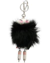 Prada Fur Robot Keyring - Black