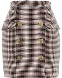 Balmain Button Detail Houndstooth Mini Skirt - Multicolour