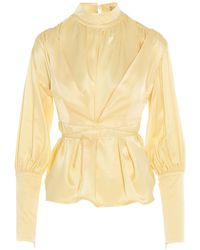 Matériel Wrap Bell-sleeved Blouse - Yellow
