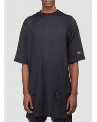 Rick Owens X Champion Perforated Long T-shirt - Black