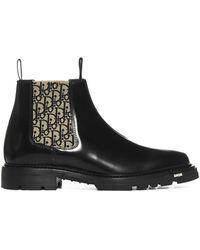 Dior Explorer Oblique Printed Chelsea Boots - Black