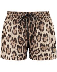 Dolce & Gabbana Leopard Printed Swimming Shorts - Multicolour