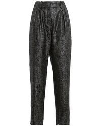 Balmain Metallic High-waisted Trousers - Black