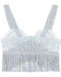 Stella McCartney Crochet Top With Fringes M - Blue