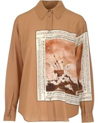 Burberry Printed Button-up Shirt - Brown