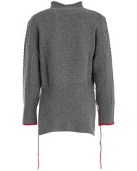 Eudon Choi Contrast Stitch Cable-knit Jumper - Grey