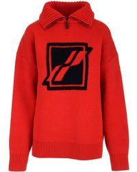 we11done Zipped-neck Knitted Jumper - Red