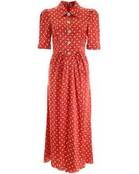 Alessandra Rich Crystal Button Dress With Polka Dots - Red