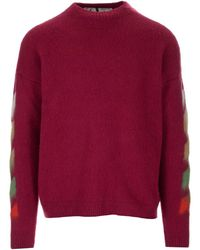 Off-White c/o Virgil Abloh Gradient Diagonal Print Knitted Sweater - Red