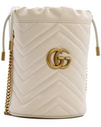 Gucci GG Marmont Mini Quilted Bucket Bag - White