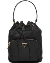 Prada Logo Drawstring Bucket Bag - Black