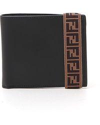 Fendi Ff Logo Tape Wallet - Black