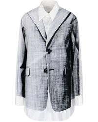 MM6 by Maison Martin Margiela Blazer-print Shirt - White