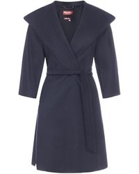 Max Mara Studio Belted Wrap Coat - Blue