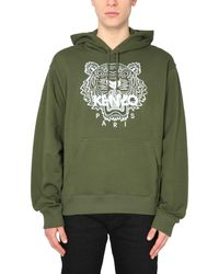 KENZO Cotton Hooded Sweatshirt With Embroidered Tiger - Brown