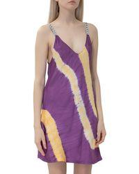 Palm Angels Tie-dye Slip Mini Dress - Purple