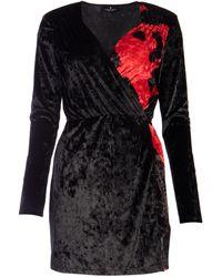 Marcelo Burlon Two-tone V-neck Mini Dress - Black