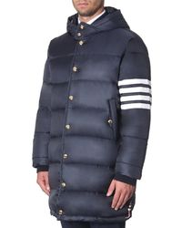 Thom Browne 4-bar Hooded Puffer Coat - Blue