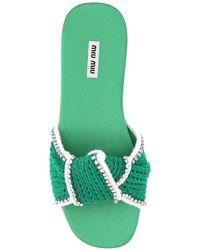 Miu Miu Knot Slide Sandals - Green