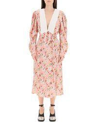Miu Miu Floral Printed Midi Dress - Pink