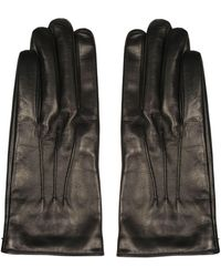 Gucci Double G Button Leather Gloves - Black