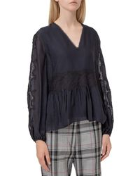 3.1 Phillip Lim Lace Embroidered V-neck Top - Blue