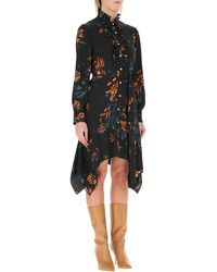 Tory Burch Asymmetrical Hem Cora Dress - Black