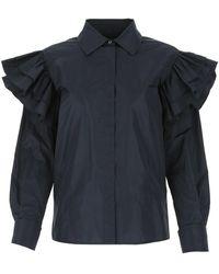 Max Mara Samaria Ruffle Detail Shirt - Blue