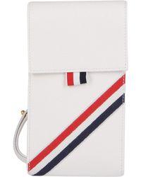 Thom Browne Rwb Stripe Strapped Phone Holder - White