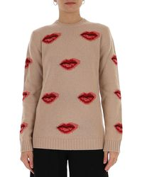 Prada Lips Jacquard Sweater - Natural