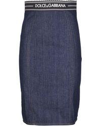 Dolce & Gabbana Logo Trim Pencil Skirt - Blue