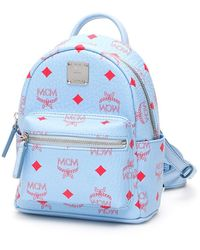 MCM Stark Visetos Backpack Extra Mini Blue Bell