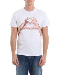 Isaia Love Hand Print Crewneck T-shirt - White